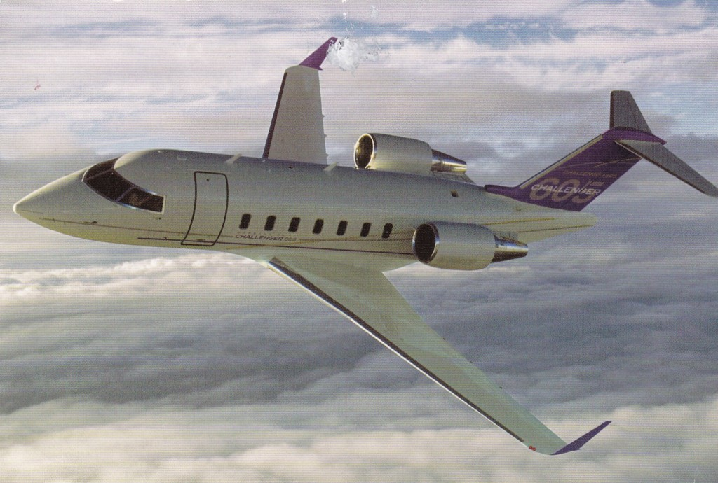 Challenger 600 airplane image flying in the sky